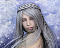 Winter fairy portrait. A wonderful fairy's portrait with a soft colors background Stock Photos