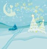 Winter fairy. Sitting on the moon, Vector Illustration Stock Photos