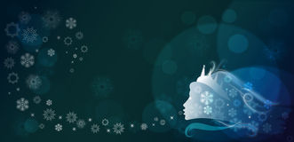 Winter fairy tale. Abstract winter background with a silhouette of the Snow queen and snowflakes Stock Image
