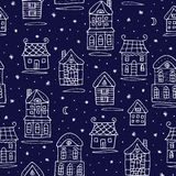 Winter fairy tale houses seamless pattern Royalty Free Stock Photos