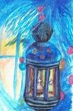Winter fabulous lantern.Сказоный фонарь зимой.Новогодняя ночь vector illustration