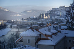 Winter fairy tale, old town of Salzburg with castle Royalty Free Stock Photo
