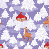 Winter fairy tale pattern. Christmas seamless pattern with the image of a fairy-tale winter forest, small houses and fawns royalty free illustration