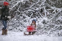 A winter fairy tale, a young mother and her daughter ride a sled Royalty Free Stock Photography