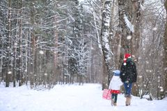 A winter fairy tale, a young mother and her daughter ride a sled Stock Photography