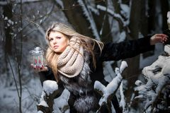 Winter fairy tale. Winter fairy-tale. Young woman in forest holding candle light looking out stock photo