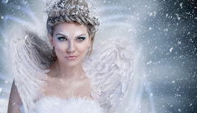 Winter fairy with wings royalty free stock images