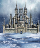 Winter fairytale castle. Colorful fairytale castle in a winter forest royalty free illustration