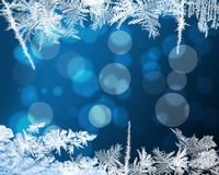 Winter Frame with crystal snowflakes. Royalty Free Stock Image