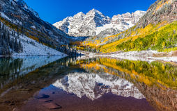 Winter and Fall foliage in Maroon Bells, Aspen, CO Royalty Free Stock Photography