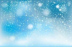 Winter falling snow background stock photo