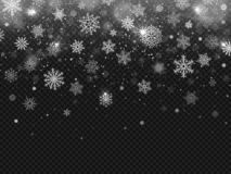 Winter falling snow. Snowflakes fall, christmas decorations snowflake and snowed snowstorm isolated vector background. Winter falling snow. Snowflakes fall