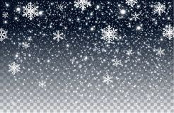 Winter falling snow on transparent background stock photography