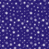 Winter falling snowflakes seamless pattern. On dark blue background Royalty Free Stock Image
