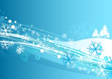 Winter Falls. Illustration of winter with christmas elements Stock Photo