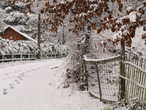 Winter falls on Perigueaux. Winter snow scene on Perigueaux region on France Stock Photo