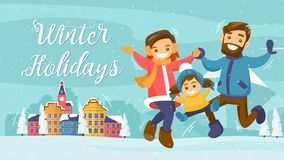 Winter family Holiday card, banner, poster Stock Photos
