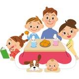 Winter family pleasure of home life Stock Image