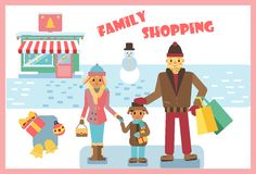 Winter family shopping stock images