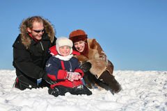 Winter family on snow Royalty Free Stock Images