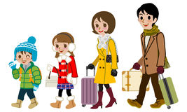Winter Family traveller,  Royalty Free Stock Photography