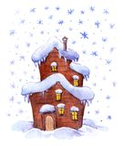 Winter fantasy house. Water color Stock Image