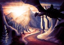 Free Winter Fantasy Landscape With A Dragon With Big Wings And A Knight  With Big Mountains  With An Icy River Royalty Free Stock Photos - 206661508