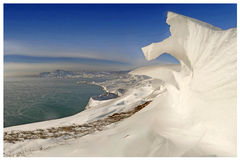 Winter fantasy. Wind, sun and snow Stock Photography