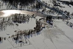 Winter on the farm. Birds eye view of a farm in the winter in western USA Stock Image