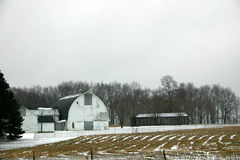 Winter on Farm. Fields lay idle as the farm waits out a New Jersey winter in the snow Royalty Free Stock Images