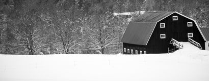 Winter Farm Scene Panoramic Wide View Stock Photo