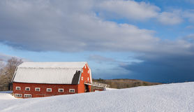 Winter Farm Scene with Red Barn Royalty Free Stock Photo
