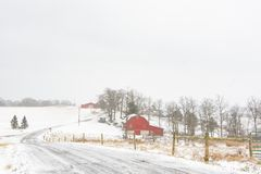 Winter farm scene in rural Appalachia. Winter scene of a snow-covered road leading past a farm with red barns in rural Appalachia during a snow storm with royalty free stock photography