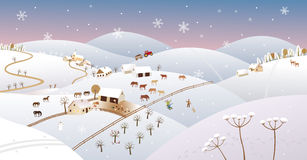 Winter farmer landscape Royalty Free Stock Image