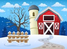 Winter farmland theme 1 Royalty Free Stock Images
