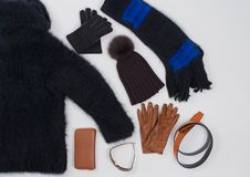 Winter fashion accessories in Flat Lay Still on white.  royalty free stock photography
