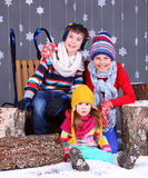 Winter Fashion. Adorable happy boy and girls. Royalty Free Stock Image