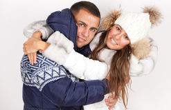 Winter fashion beautiful man and woman Stock Images