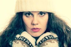 Winter fashion beautiful woman in warm clothing portrait Stock Photo