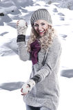 Winter fashion beauty girl Stock Photos