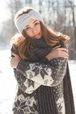 Winter fashion beauty. Outdoors portrait of a brunette winter fashion beauty Royalty Free Stock Photo