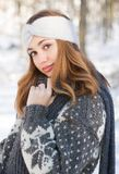 Winter fashion beauty. Outdoors portrait of a brunette winter fashion beauty Royalty Free Stock Photography