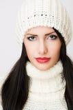 Winter fashion brunette beauty. Stock Photography