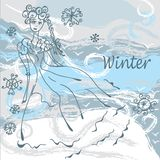 Winter fashion card with girl Stock Photos