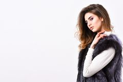 Winter fashion concept. Silver fur vest fashionable clothing. Luxury furry accessory. Girl makeup face long hairstyle. Wear fur vest white background. Fashion stock photo