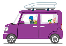 Winter fashion Family riding the Purple car  - Isolated Stock Photos