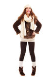Winter fashion. Full length of curly girl woman in warm clothing Royalty Free Stock Photography