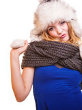 Winter fashion girl in fur hat doing fun isolated Royalty Free Stock Images