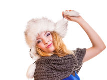 Winter fashion girl in fur hat doing fun isolated Royalty Free Stock Photo