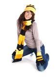 Winter fashion girl isolated on white background Stock Photos